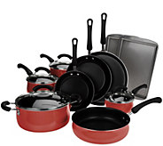 CooksEssentials Belly Shape 14pc Porcelain Enamel Cookware Set - K43293