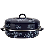 As Is Temp-tations Floral Lace Oval Covered Roaster w/ Rack - K307895