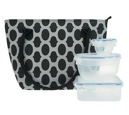 lock lock patterned lunch tote with 3 storage containers. Black Bedroom Furniture Sets. Home Design Ideas
