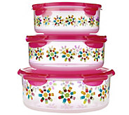 Lock & Lock 3pc Round Canister Set w/ Popsicle Print - K43095