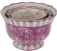 Temp-tations Floral Lace Set of 3 Pedestal Bowls - K43395