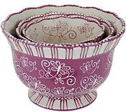 Temp-tations Floral Lace Set of 3 Pedestal Bowls - K43395