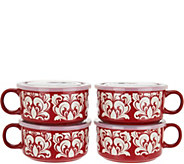 Cooks Essentials S/4 Microwavable Ceramic Mugs w/ Vented Lids - K45096
