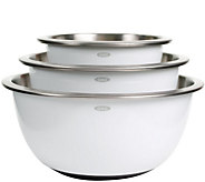 OXO Good Grips 3-Piece Stainless-Steel Mixing Bowl Set - White - K304997