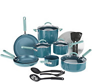 As Is CooksEssentials 18-piece PorcelainEnamel Cookware Set - K307397
