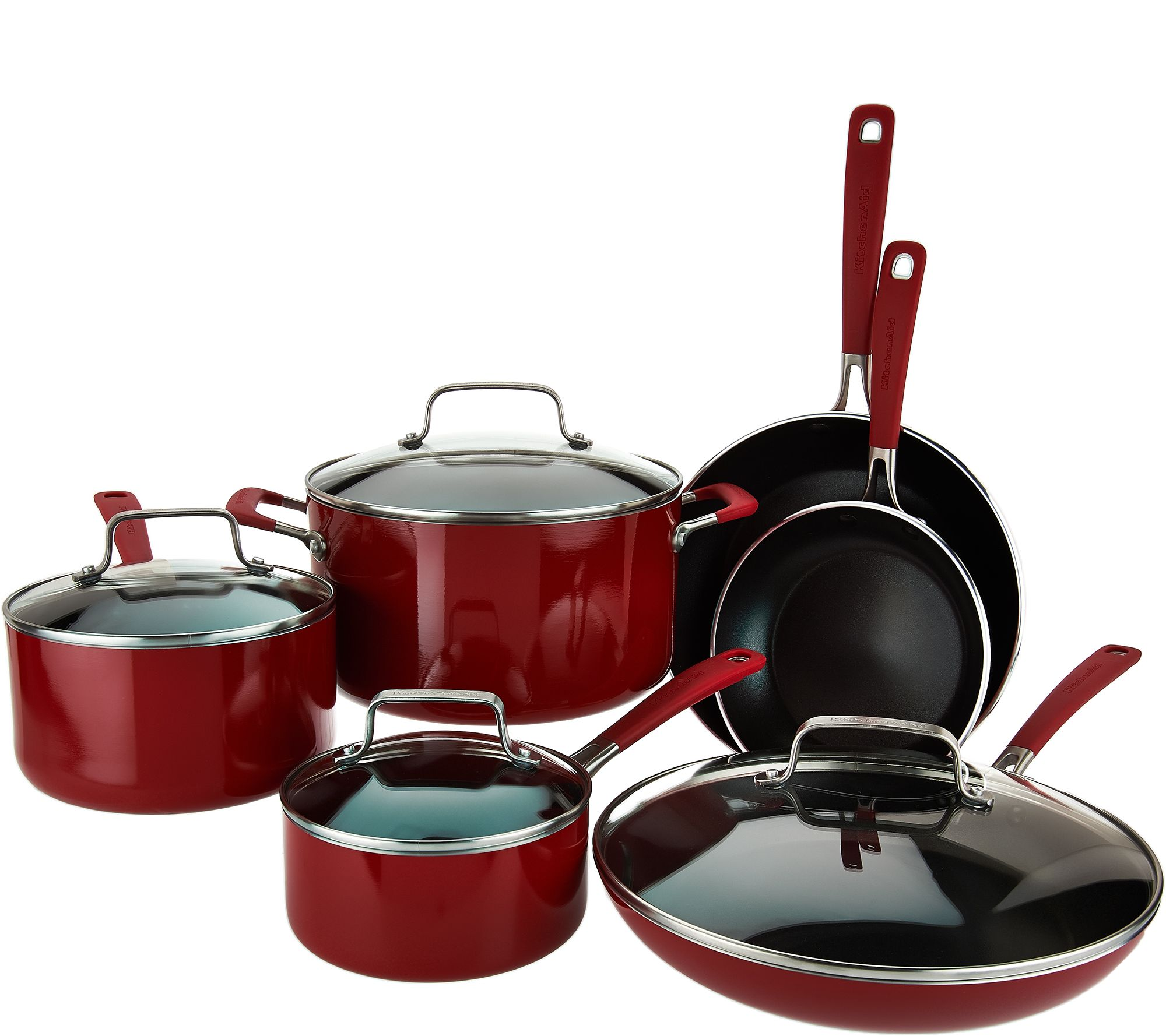 Kitchenaid 10 piece nonstick aluminum cookware set page 1 - Kitchen aid pan set ...