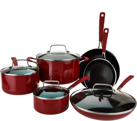 Kitchenaid 10 piece nonstick aluminum cookware set k43697 - Kitchen aid pan set ...