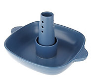As Is Blue Jean Chef 11 Sq. Flameproof Multi-Roaster w /Removable Cone - K307099