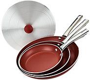As Is Cooks Essentials 4-pc Aluminum Skillets & Unversal Lid - K307699