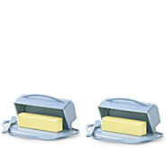 Butterie S/2 Fliptop Lid Butter Dishes w/ Matching Spreaders - L44906