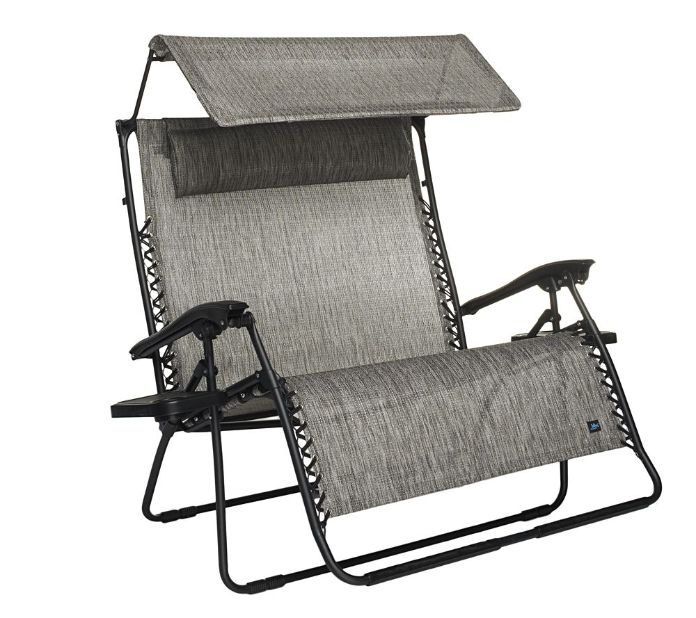 Medium image of bliss hammocks 2 person gravity free recliner w canopy   page 1  u2014 qvc