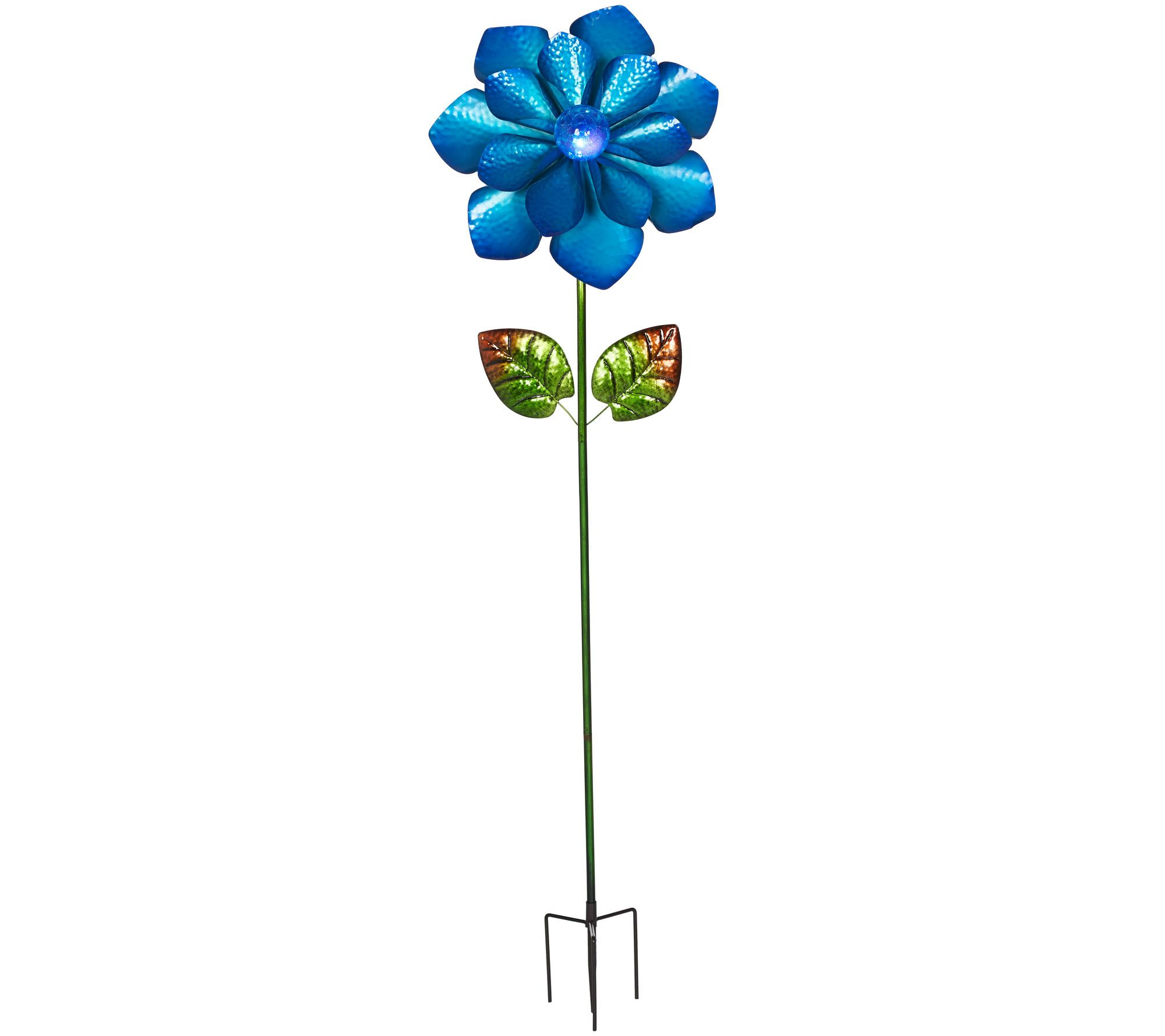 Flower Garden Stake With LED Solar Crackle Glass Ball   Page 1 U2014 QVC.com