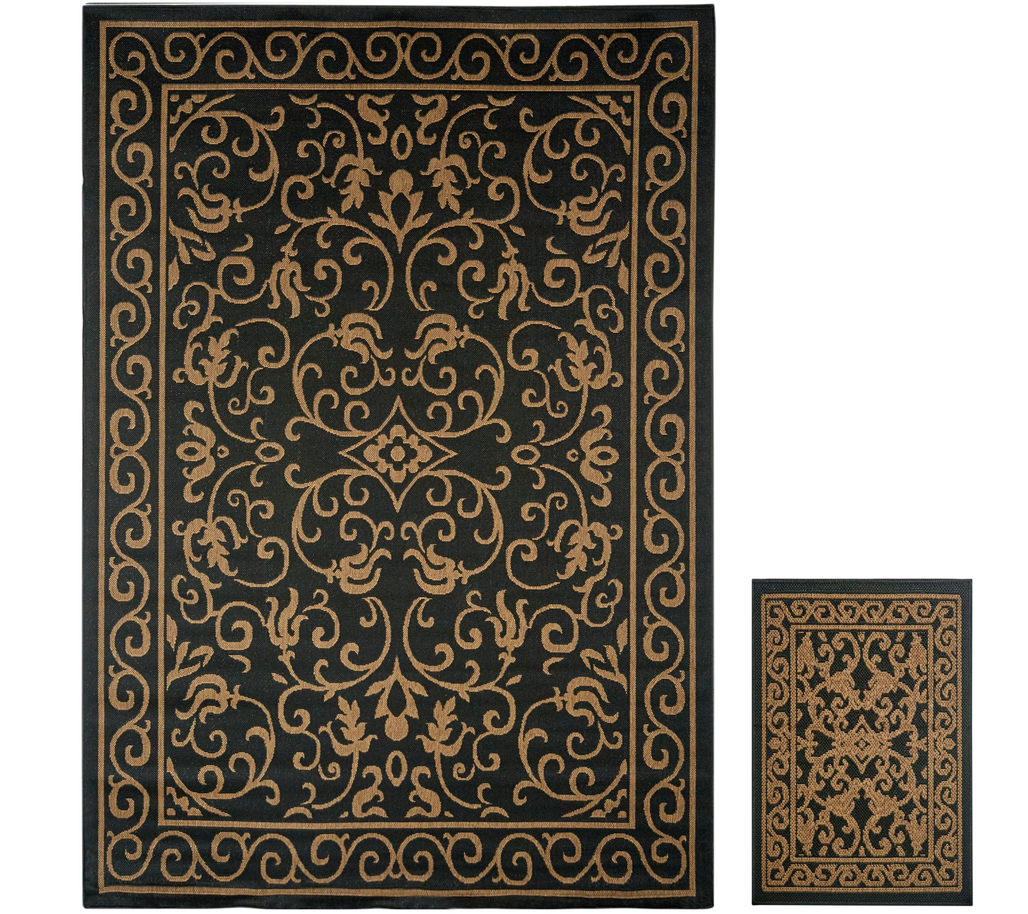 Veranda Living 5x7 Reversible Indoor Outdoor Scroll Rug With Bonus Doormat M51805