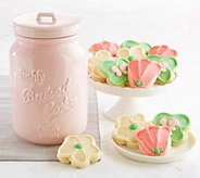 Cheryls Pink Mason Cookie Jar with 12 Cookies - M115707