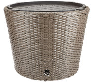 ATLeisure Faux Wicker Hose Bowl & Side Table w/ Removable Tray