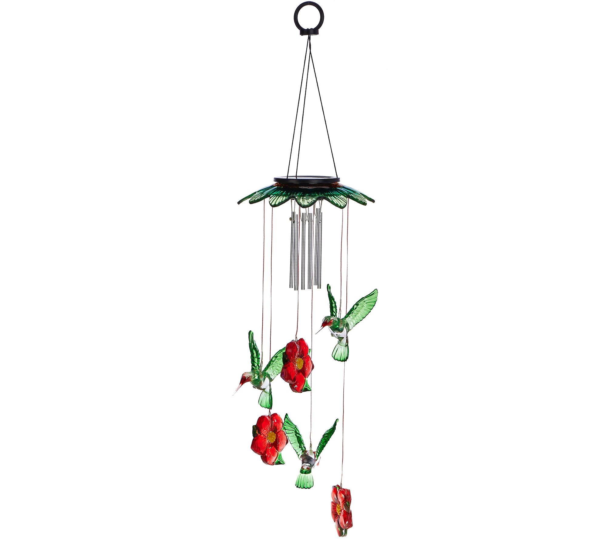 Plow & Hearth Glass Top Solar Garden Mobile w/ Windchime
