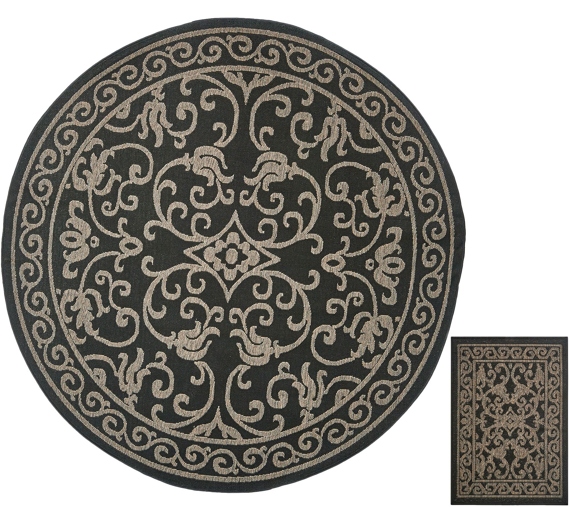 "Round Outdoor Rugs For Patios: Veranda Living 84"" Round Indoor/Outdoor Scroll Rug With"