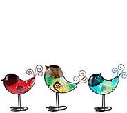 Plow & Hearth Set of 3 Colorful Glass Birds - M52107