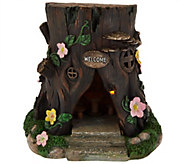 Plow & Hearth Solar Fairy Stump with Welcome Sign - M49008