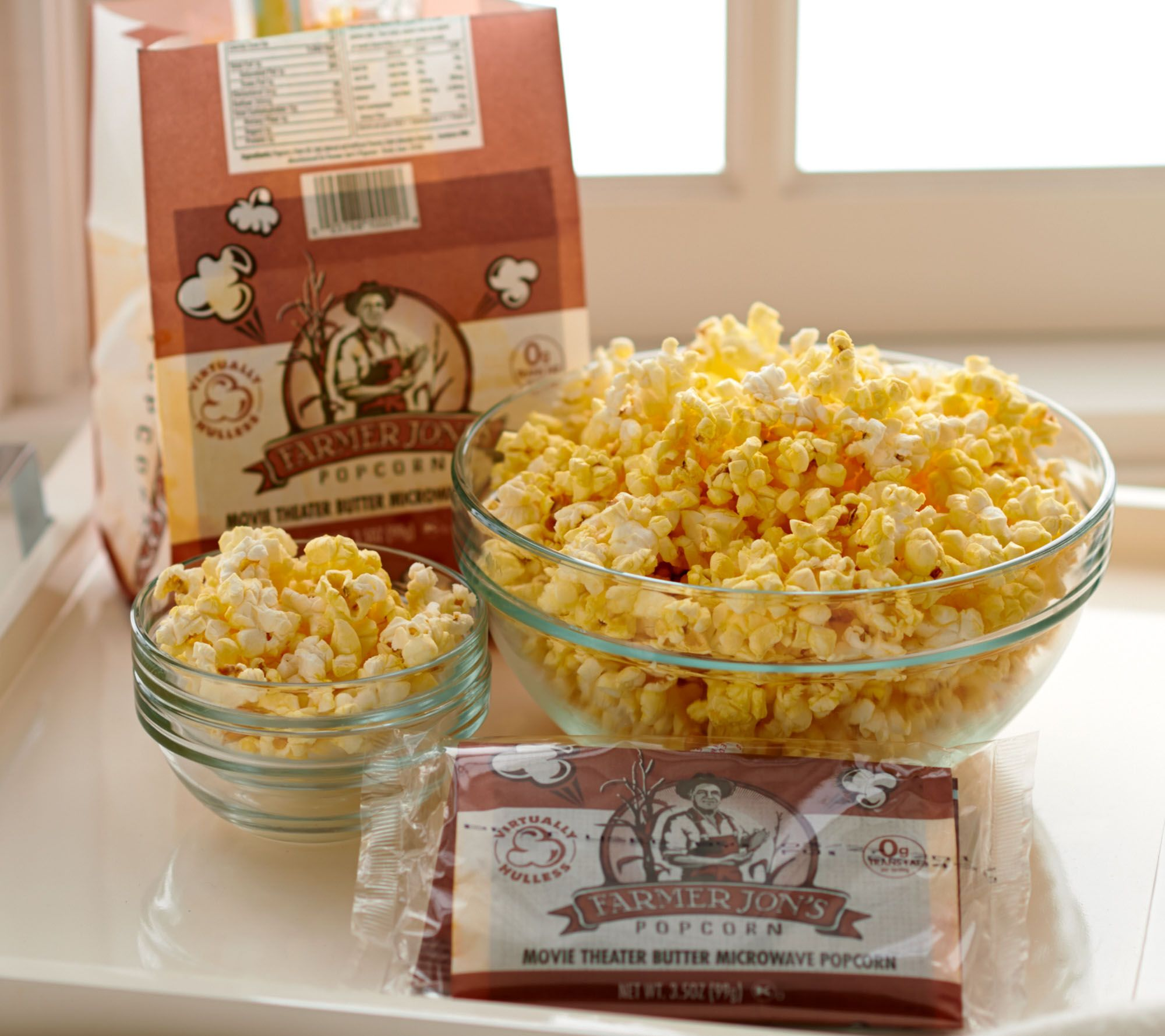 Farmer Jon's (18) 3.5 oz Bags Virtually Hulless Butter Popcorn