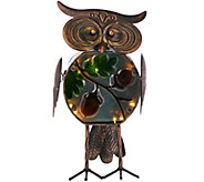 Plow & Hearth Indoor/Outdoor Metal Owl w/ Illuminated Glass Body - M50908