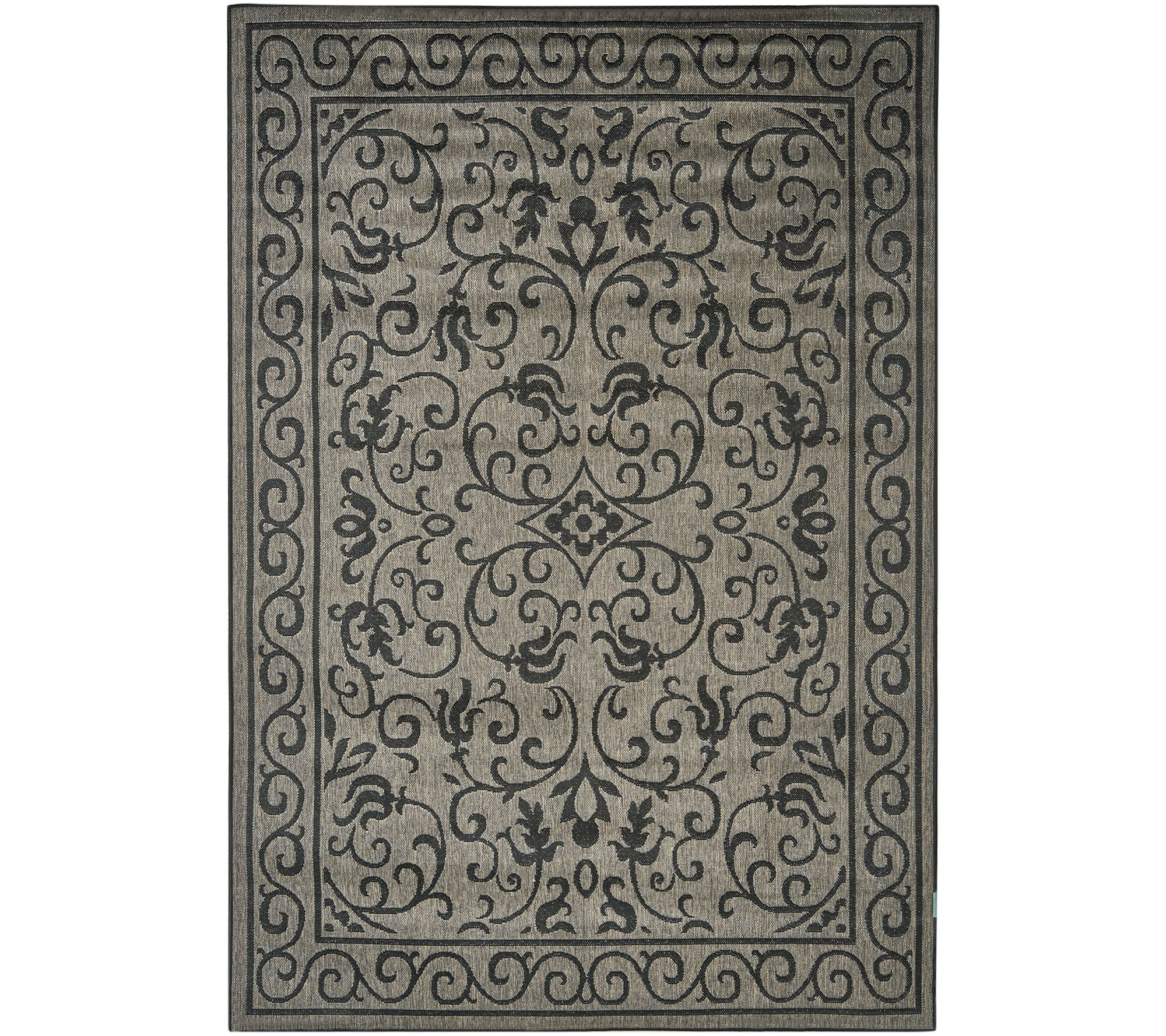 Veranda Living Indoor Outdoor Reversible Scroll Rug with Bonus