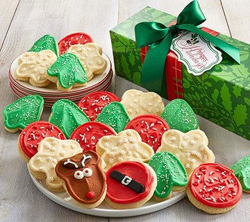 Ships 10/31 Cheryl's 18-Pc Holiday Cutout Cookie Box - M115310