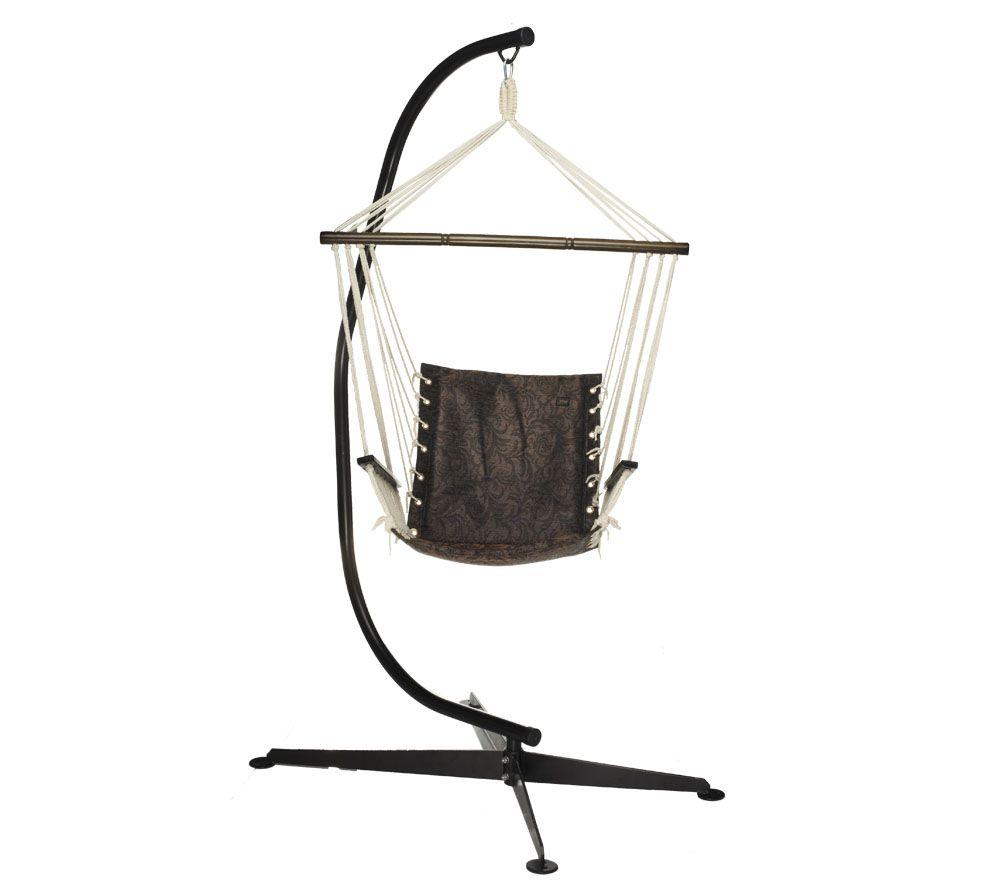 bliss hammocks swinging hammock chair with stand   page 1  u2014 qvc    rh   qvc