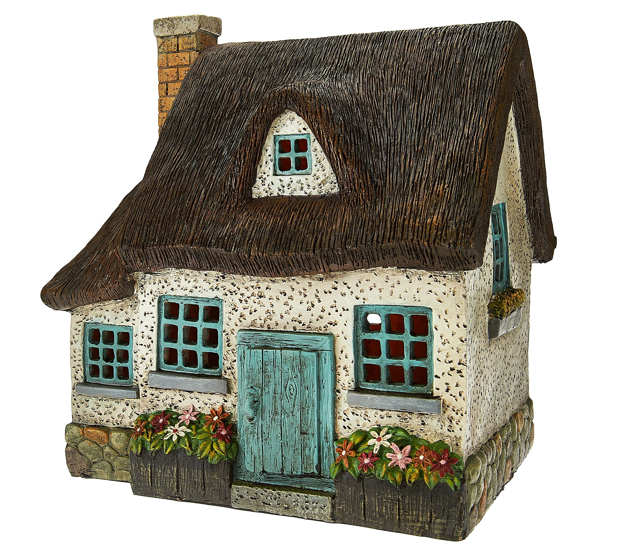 Plow & Hearth Indoor/Outdoor Resin Cottage with LED Lights