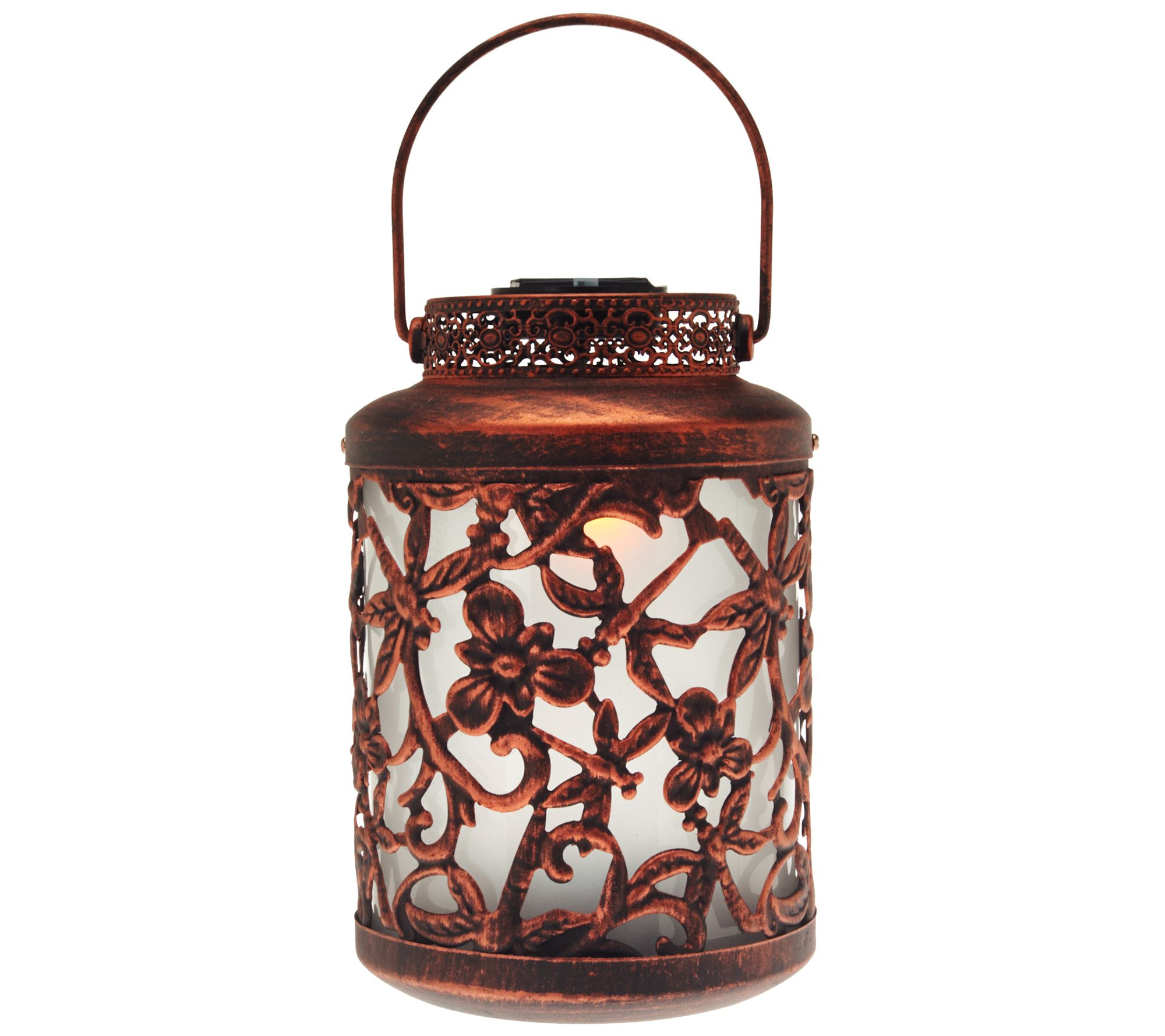 Compass Home Antique Floral Design Solar Lantern w/Color ...