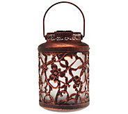 Compass Home Antique Floral Design Solar Lantern w/Color Changing Lights - M49514