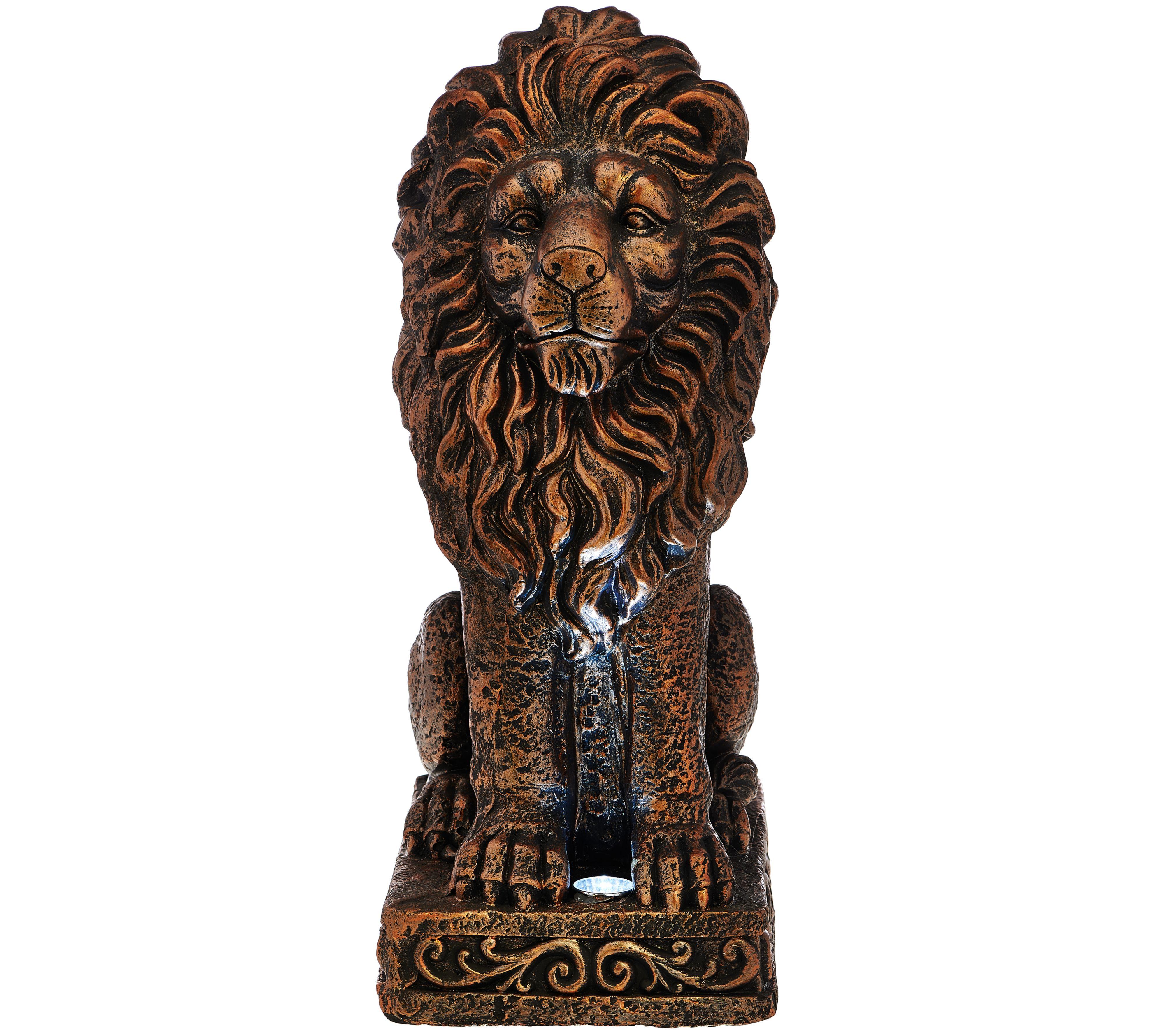 Garden Lights Qvc : Solar garden lion statue page qvc