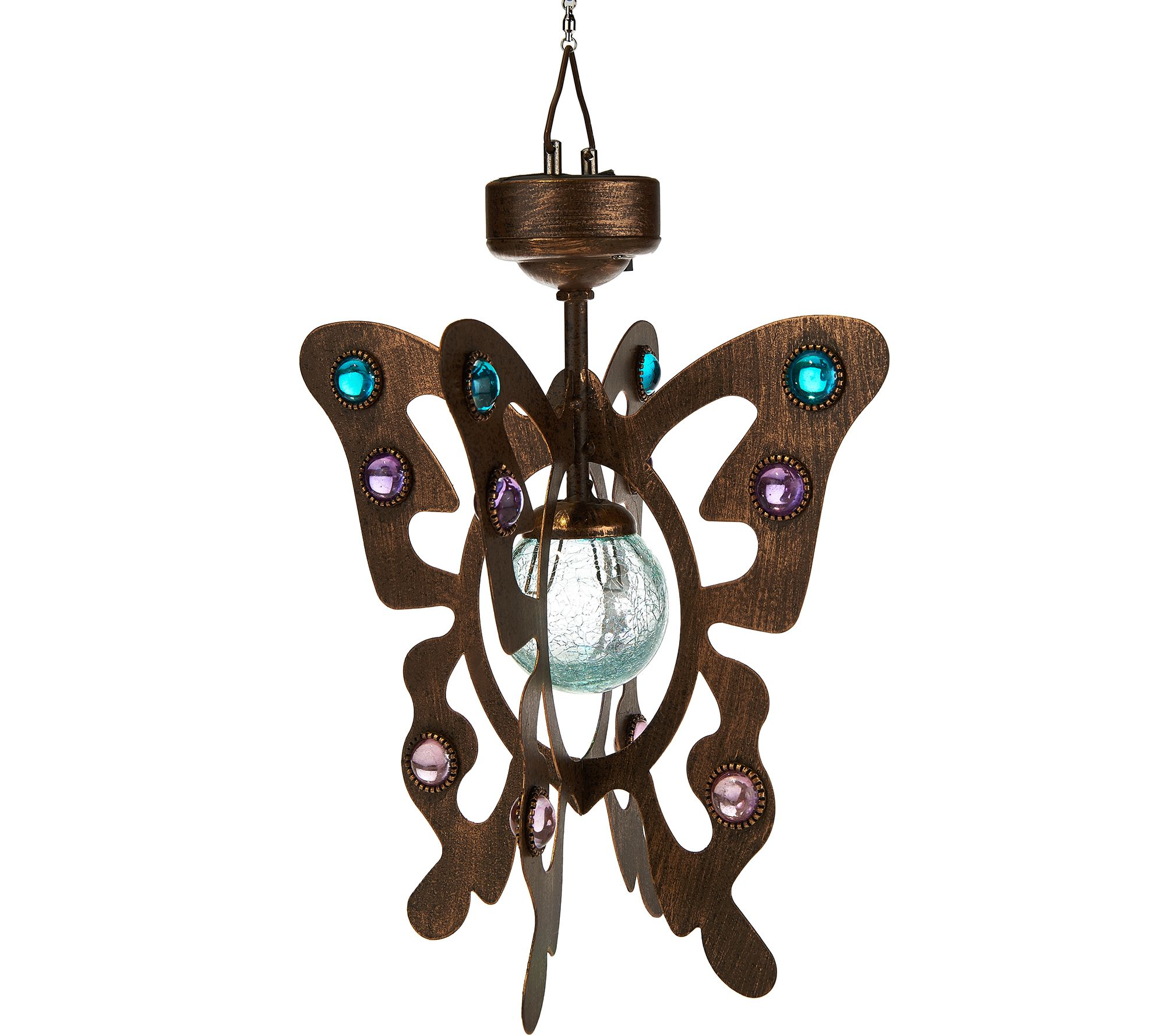 Qvc Outdoor Wall Lights: Compass Home Solar Hanging Wind Spinner With Crackle Glass
