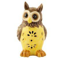 Solar Garden Light Ceramic Owl