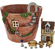 Plow & Hearth 8 Lighted Fairy Garden Pot with Accessories - M52319