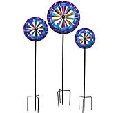 Plow & Hearth Set of 3 Ruffle Garden Spinners - M48423