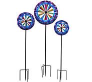 Plow & Hearth Set of 3 Ruffle Garden Spinners - M48423