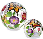 Plow & Hearth Set of 2 Handpainted Illuminated Glass Globes - M52123
