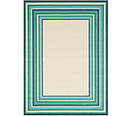 Veranda Living Indoor/Outdoor 5x7 Multi-Color Stripe Border Rug - M55723
