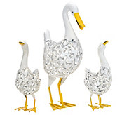 As Is Decorative Solar Duck with Ducklings by Smart Solar - M120124