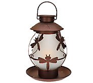 Compass Home Solar Glass Lantern w/Color & Amber Flicker Lights - M45725