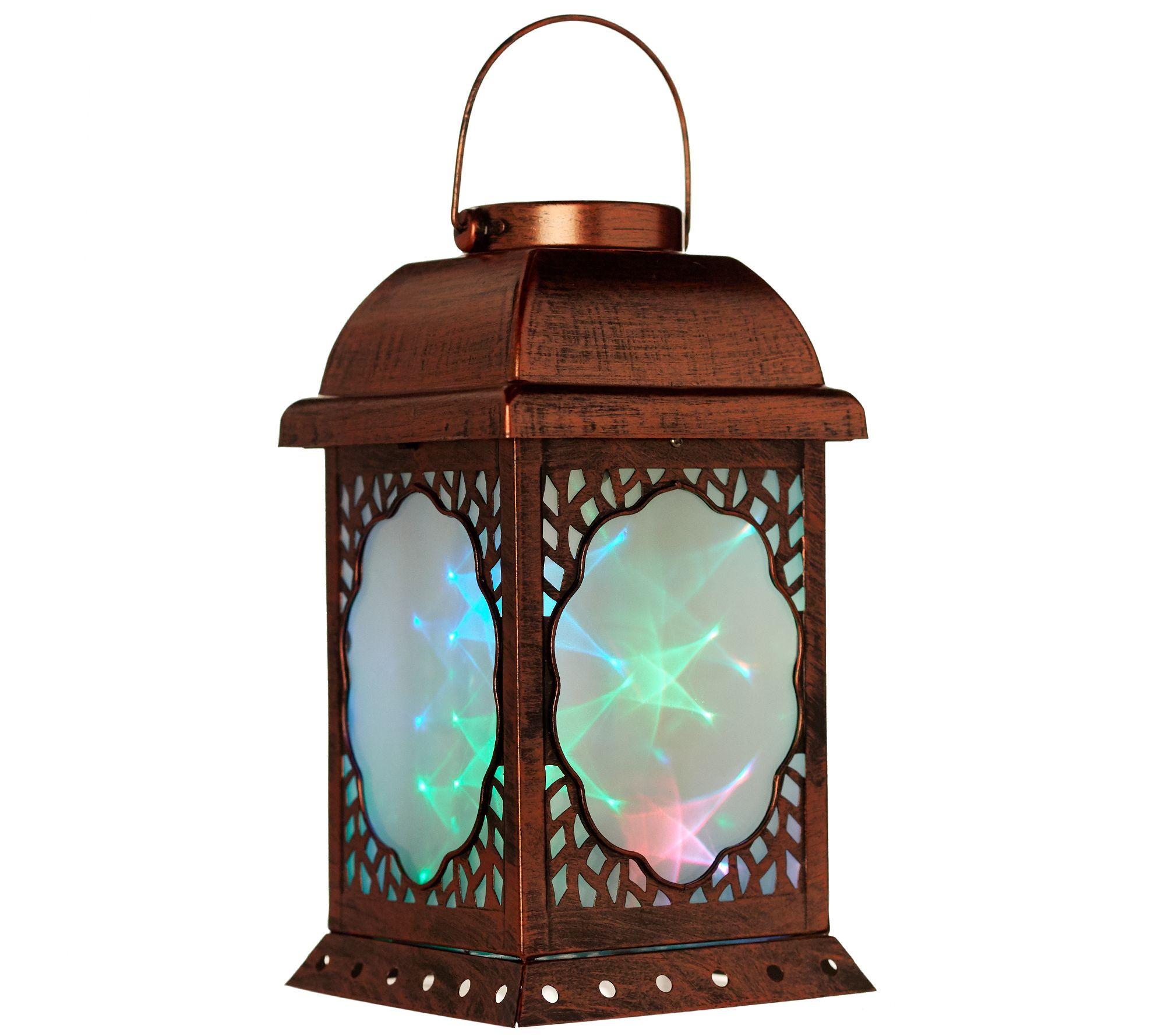 plow u0026 hearth solar lantern with holographic icons page 1 u2014 qvc com