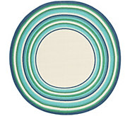 Veranda Living Indoor/Outdoor 78 Round Multi Color Stripe Border Rug - M55725