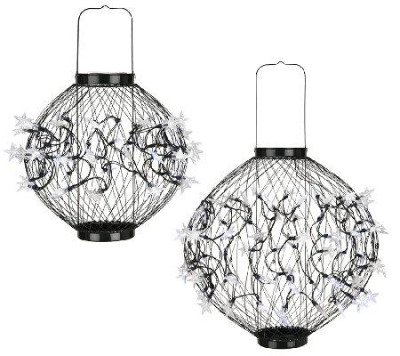 Plow & Hearth Adjustable Solar LED Lantern w/ Star Lights —