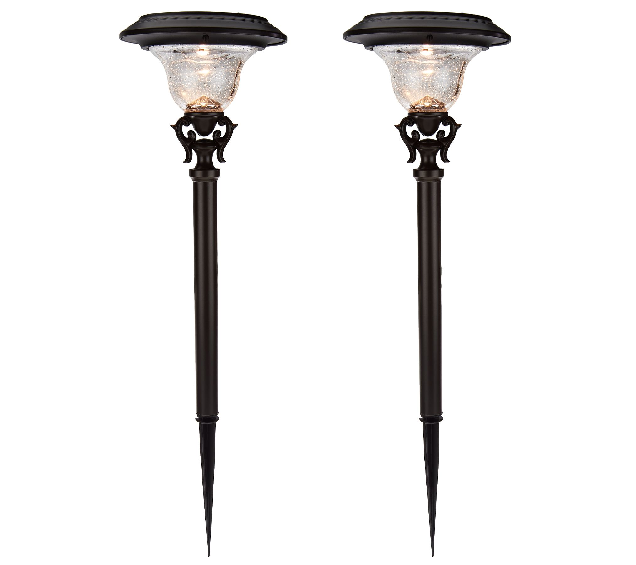 solar landscape lighting qvc duracell set of 2 decorative solar path light set page 1