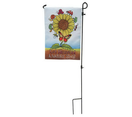 Fiber optic garden flag with metal flag stand for Large garden flag stand