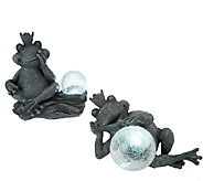 Set of 2 Garden Accent Statues w/Solar Powered Glass Balls - M43934