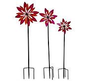 Plow & Hearth Set of 3 Flower Garden Spinners - M48436