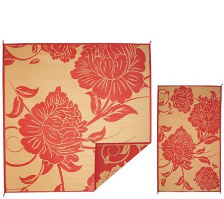 Barbara King Floral 8x8 Reversible Outdoor Mat w/Matching 3x5