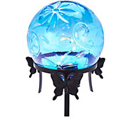 LED Glass Gazing Ball with Metal Stand by Evergreen - M52136